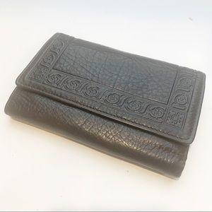 Vintage Leather Embossed Dark Brown Leather Wallet